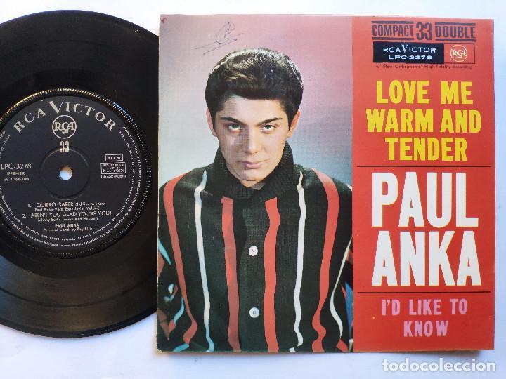 Discos de vinilo: PAUL ANKA - EP Spain PS - EX * LOVE ME WARM AND TENDER * RARE 33 RPM * LPC 3278 * Año 1962 - Foto 3 - 236413735