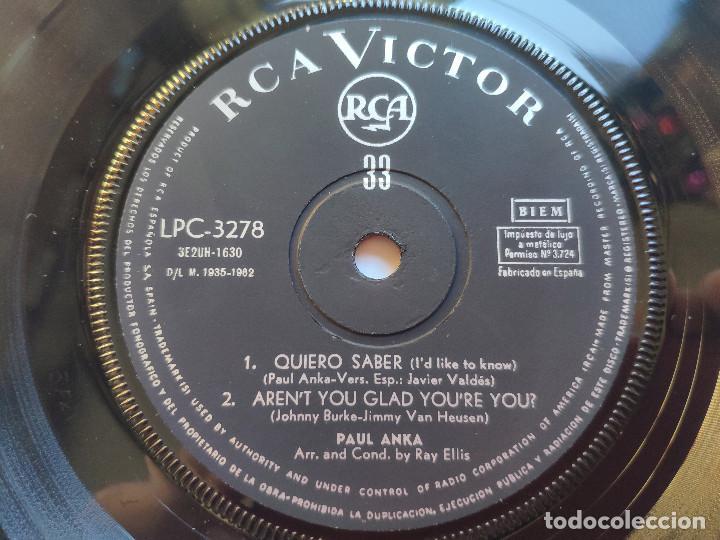 Discos de vinilo: PAUL ANKA - EP Spain PS - EX * LOVE ME WARM AND TENDER * RARE 33 RPM * LPC 3278 * Año 1962 - Foto 7 - 236413735