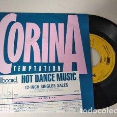 Discos de vinilo: CORINA - TEMPTATION - DISCO PROMOCIONAL DE UNA SOLA CARA. Lote 236455160