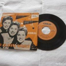 Discos de vinilo: THE MCGUIRE SISTERS 7´EP MELODY OF LOVE / HEATS OF STONES + 2 (GRUPO 3 HERMANAS USA 1952/1968) RAR. Lote 236513490