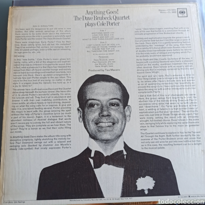 Discos de vinilo: The Dave Brubeck Quartet - Anything Goes! Dave Brubeck Plays Cole Porter (Columbia, Mono, US, 1965) - Foto 2 - 236523630