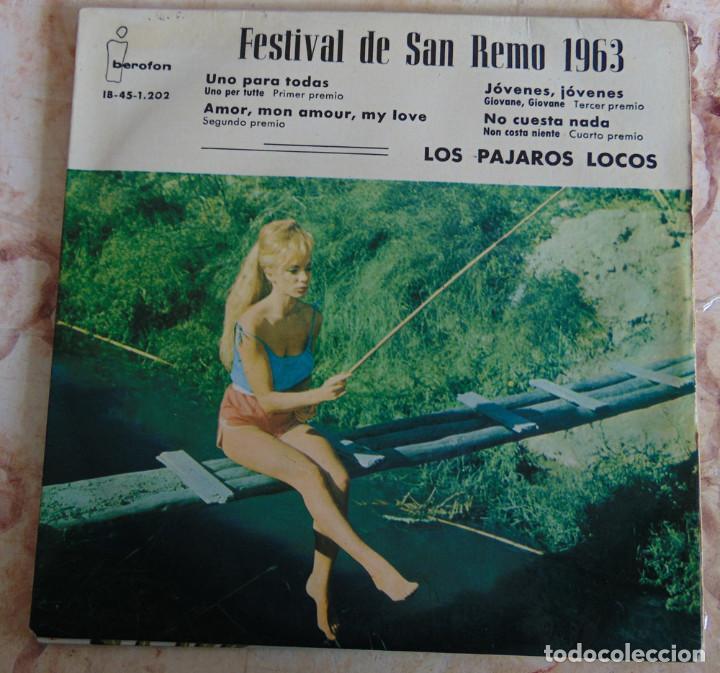 LOS PÁJAROS LOCOS – FESTIVAL DE SAN REMO 1963 - EP (Música - Discos de Vinilo - EPs - Grupos Españoles 50 y 60)