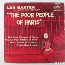 Discos de vinilo: EP LES BAXTER. THE POOR PEOPLE OF PARIS (~1956) (RARO. VERSION NO EXISTENTE EN DISCOGS.COM). Lote 236532350
