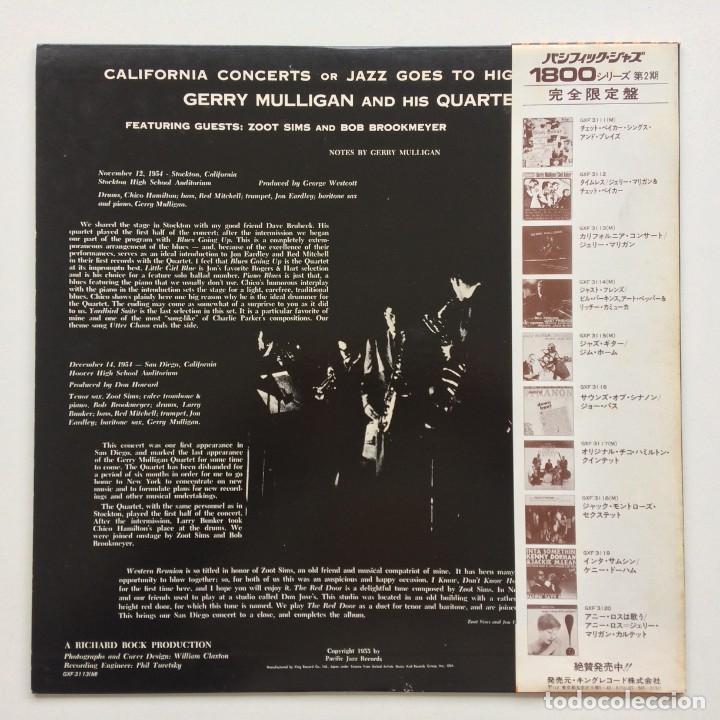 Discos de vinilo: Gerry Mulligan – California Concerts Japan,1978 Pacific Jazz - Foto 2 - 236557615