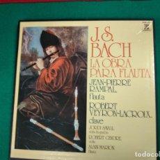 Discos de vinilo: J.S. BACH. LA OBRA PARA FLAUTA.JEAN PIERRE RAMPAL. 3LP + LIBRETO. Lote 236566465