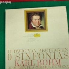 Discos de vinilo: LUDWIG VAN BEETHOVEN. 9 SINFONIAS. KARL BÓHM. ORQUESTA FILARMONICA DE VIENA. 9 LP + LIBRETO.. Lote 236569295