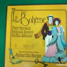 Discos de vinilo: PUCCINI. LA BOHEME. HERBERT VON KARAJAN .2 LP + LIBRETO. Lote 236571155