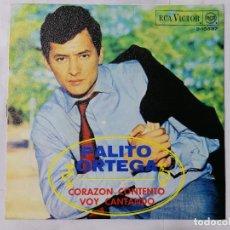 Discos de vinilo: PALITO ORTEGA, CORAZON CONTENTO / VOY CANTANDO, AÑO 1968, RCA VICTOR. Lote 236588155