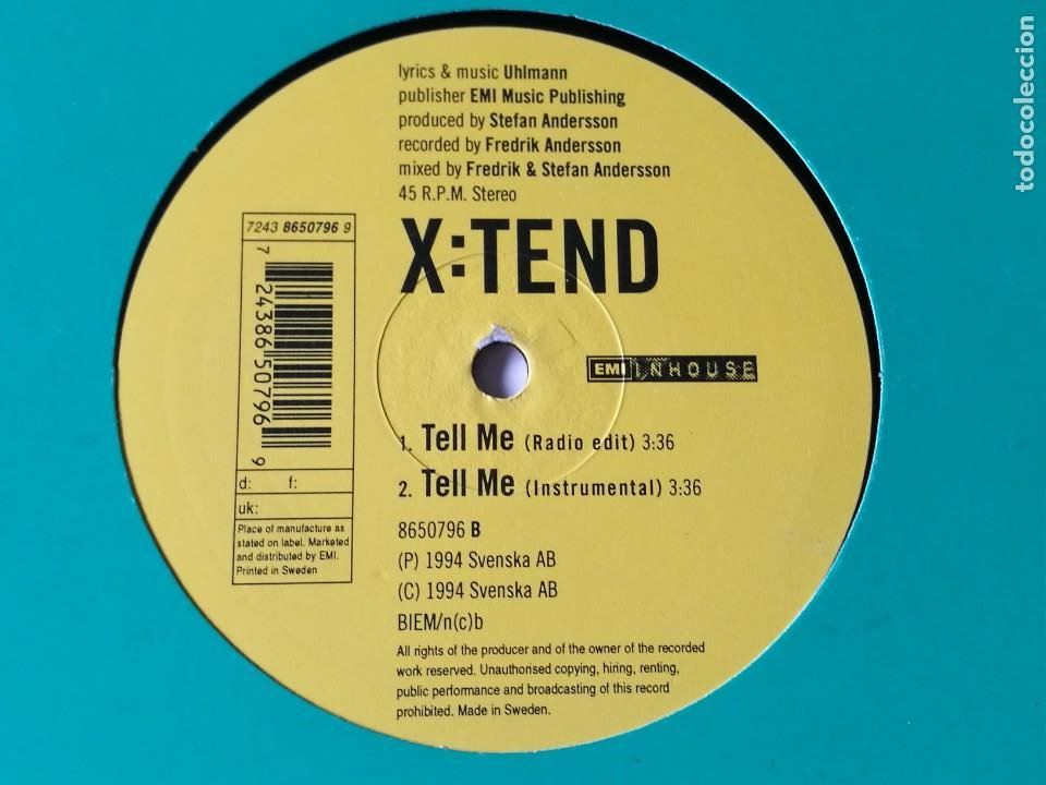 X:TEND - TELL ME - 1994 (Música - Discos de Vinilo - Maxi Singles - Techno, Trance y House)
