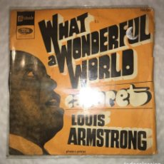 Disques de vinyle: SINGLE LOUIS ARMSTRONG - WHAT A WONDERFUL WORLD - CABARET - STATESIDE FSS520 - PEDIDOS MINIMO 7€. Lote 236618630