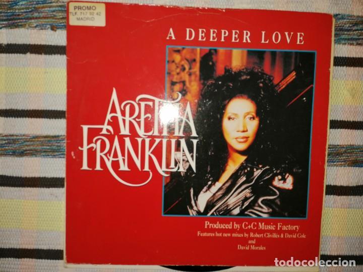 Discos de vinilo: Lote 2 discos. MIGHTY REAL-YOU MAKE ME FEEL Y ARETHA FRANKLIN-A DEEPER LOVE - Foto 3 - 236659560