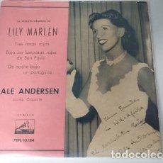 Discos de vinilo: LALE ANDERSEN - LILI MARLEN / TRES ROSAS ROJAS / BAJO LAS LAMPARAS DE SAN PAULI /. Lote 236670560