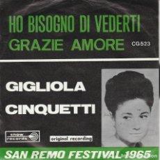 Discos de vinilo: GIGLIOLA CINQUETTI HO BISOGNO DI VEDERTI /GRAZIE AMORE SANREMO FESTIVAL 1965 BELGIUM. Lote 236703275