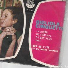 Discos de vinilo: 45 GIRI GIGLIOLA CINQUETTI NON HO L'ETA' X AMARTI /SEI UN BRAVO RAGAZZO RGE /CGD BRAZIL. Lote 236706105