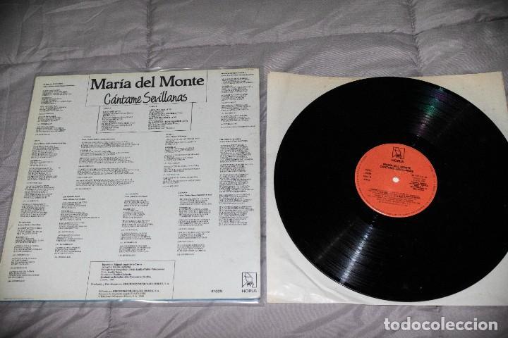 Discos de vinilo: MARÍA DEL MONTE - CÁNTAME SEVILLANAS - ESPAÑA - 1988 - VG/VG- - Foto 2 - 236803235