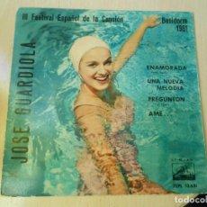Discos de vinilo: JOSE GUARDIOLA - FESTIVAL CANCIÓN BENIDORM -, EP, ENAMORADA + 3, AÑO 1961. Lote 236869650