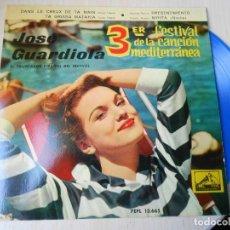 Discos de vinilo: JOSE GUARDIOLA - FESTIVAL CANCIÓN MEDITERRÁNEA -, EP, DANS LE CREUX DE TA MAIN + 3, AÑO 1961. Lote 236870035