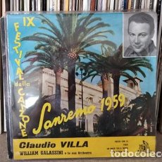Discos de vinilo: CLAUDIO VILLA - FESTIVAL DE SAN REMO 1959, EP, PARTIR CON TE + 3, AÑO 1959. Lote 236949680