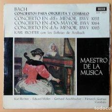 Disques de vinyle: CONCIERTOS PARA ORQUESTA Y CÉMBALO. CONCIERTO EN RE MENOR, BWV 1052. CONCIERTO EN DO MAYOR, BWV 1064. Lote 237026420