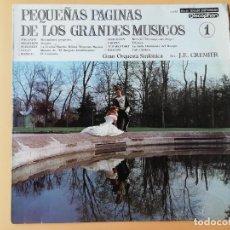 Discos de vinilo: PEQUEÑAS PÁGINAS DE LOS GRANDES MÚSICOS, 1. GRAN ORQUESTA SINFÓNICA. DIR. J.E. CREMIER - PAGANINI. B. Lote 237026520