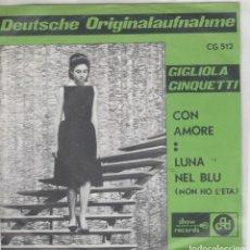 Discos de vinilo: 45 GIRI GIGLIOLA CINQUETTI CON AMORE /LUNA NEL BLU' SHOW RECORDS BELGIUM 1964 DIFF COVER. Lote 237045660