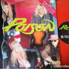 Discos de vinilo: POISON - SO TELL ME WHY - MAXI SINGLE DE 12 PULGADAS EDICION INGLESA VINILO ROJO PORTADA POSTER #. Lote 237158960