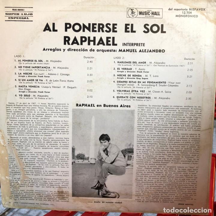 Discos de vinilo: LP argentino de Raphael año 1967 - Foto 2 - 237165575