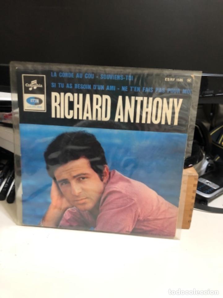 DISCO VINILO DE RICHARD ANTHONY. LA CORDE AU COU-SOUVIENS-TOI (Música - Discos de Vinilo - Maxi Singles - Canción Francesa e Italiana)