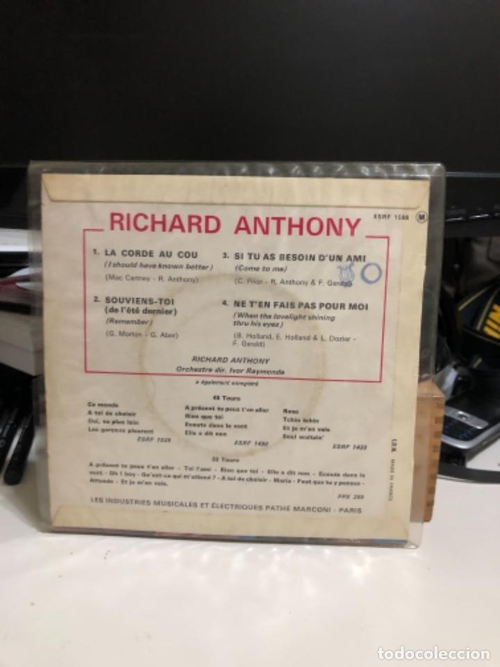Discos de vinilo: Disco vinilo de Richard Anthony. La corde au cou-souviens-Toi - Foto 2 - 237183370