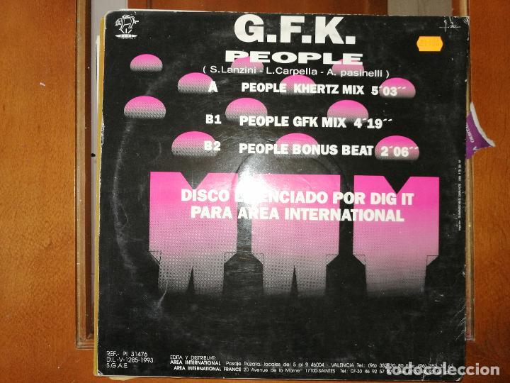 Discos de vinilo: Lote 2 Italo-Dance. G.F.K. PEOPLE,1993 y GINO LATINO -YES,1988 - Foto 3 - 237277335