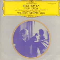 Discos de vinilo: BEETHOVEN - PARA ELISA - BAGATELAS, ESCOCESAS, RONDOS, ANDANTES.... LP GRAMMOPHON RF-9055. Lote 237357980
