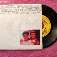 Discos de vinilo: SINGLE ARETHA FRANKLIN/GEORGE MICHAEL - I KNEW YOU WERE WAITING -SPAIN PROMO (NM/NM). Lote 237509805