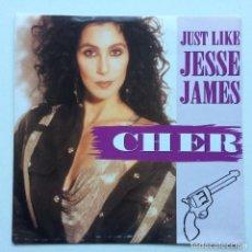 Discos de vinilo: CHER – JUST LIKE JESSE JAMES / STARTING OVER (LP VERSION) GERMANY,1989. Lote 237585085