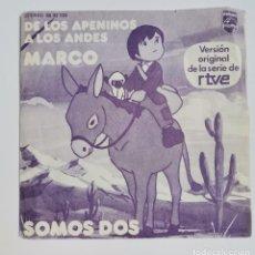 """Discos de vinilo: DE LOS APENINOS A LOS ANDES MARCO SOMOS DOS 1976 SINGLE 7"""". Lote 237778525"""