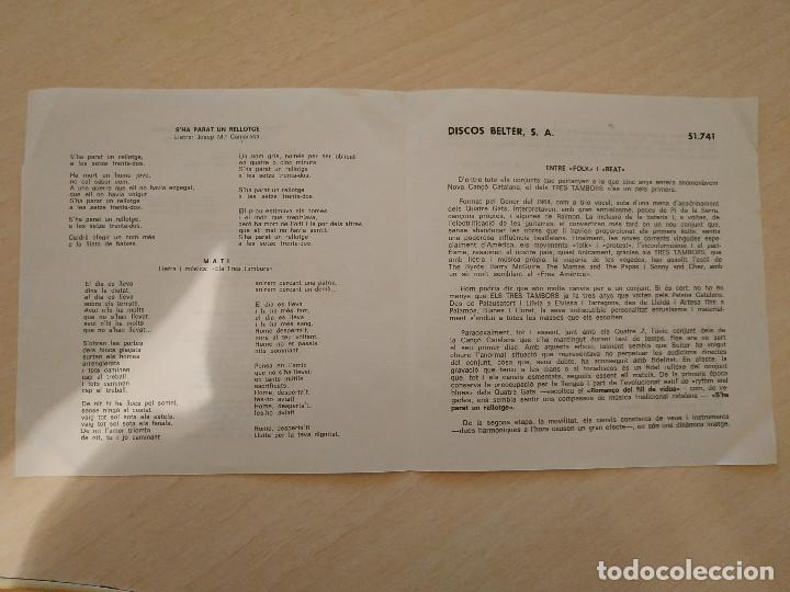 Discos de vinilo: Els 3 Tambors - Romanço Del Fill De Viuda (Tombstone Blues - Bob Dylan) +3 - EP Belter del 1966 EX++ - Foto 4 - 237778550