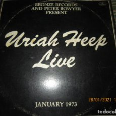 Discos de vinilo: URIAH HEEP - LIVE JANUARY 1973 DOBLE LP - ORIGINAL U.S.A. - MERCURY 1973 GATEFOLD Y INNER SLEEVES. Lote 237854890