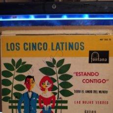 Discos de vinilo: LOS CINCO LATINOS: ESTANDO CONTIGO, LAS HOJAS VERDES, CELOS + 1, ED ESPAÑA 1961 AUTOGRAFIADO. Lote 237922495