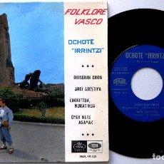 Discos de vinilo: OCHOTE IRRINTZI - FOLKLORE VASCO - DRINGILIN DRON +3 - EP EMI REGAL 1963 BPY. Lote 238108550