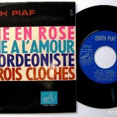 Discos de vinilo: EDITH PIAF - LA VIE EN ROSE +3 - EP LA VOZ DE SU AMO 1963 BPY COMO NUEVO. Lote 238205140