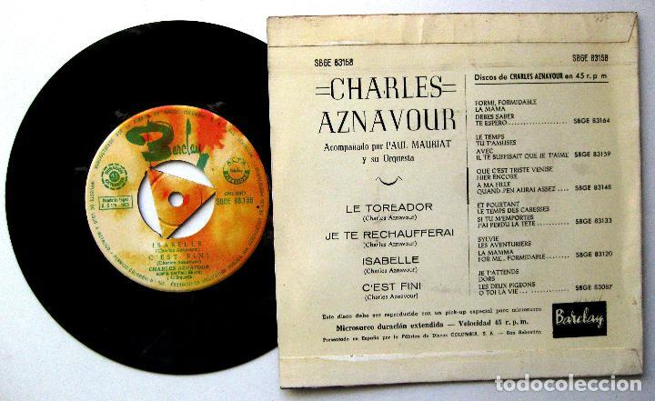 Discos de vinilo: Charles Aznavour - Le Toréador +3 - EP Barclay 1965 BPY - Foto 2 - 238212410