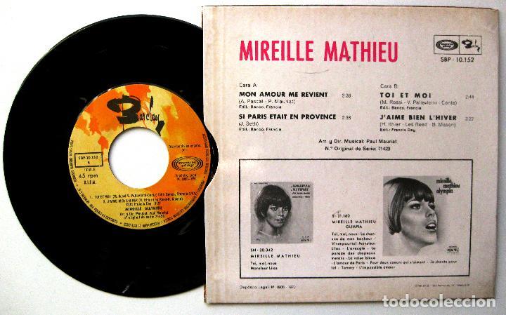 Discos de vinilo: Mireille Mathieu - Mon Amour Me Revient +3 - EP Barclay/Movieplay 1970 BPY - Foto 2 - 238270095