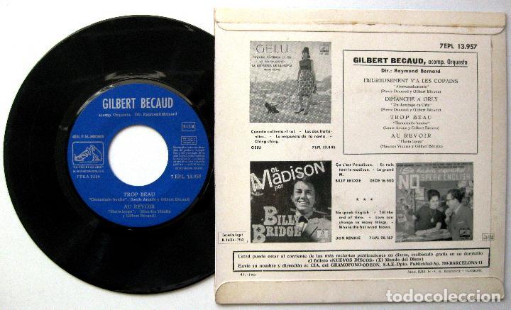Discos de vinilo: Gilbert Bécaud - Heureusement YA Les Copains +3 - EP La Voz De Su Amo 1963 BPY - Foto 2 - 238272010