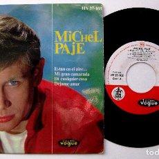 Discos de vinilo: MICHEL PAJE - NOUS, ON EST DANS LE VENT (ESTAN EN EL AIRE...) +3 - EP DISQUES VOGUE 1963 BPY. Lote 238283430