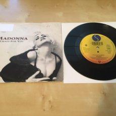 "Discos de vinilo: MADONNA - CRAZY FOR YOU (REMIX) - SINGLE RADIO PROMO 7"" - 1990 ALEMANIA 2 TEMAS. Lote 238381855"