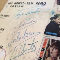 Discos de vinilo: JOYA ¡FIRMADO POR EL GRUPO! LOS HAWAI SAN REMO Y ADRIAN EP 1964 ESPAÑA BELTER. Lote 238387125
