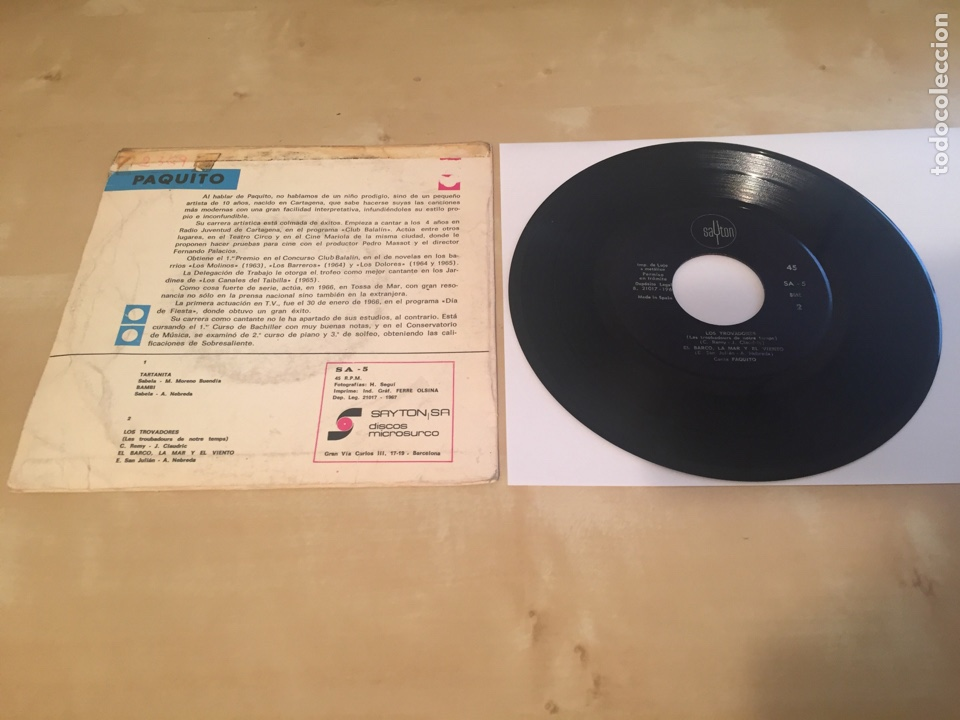 """Discos de vinilo: Paquito - Tartanita + 3 Temas - RADIO PROMO SINGLE 7"""" - 1967 Sayton ESPAÑA - Foto 3 - 238479480"""