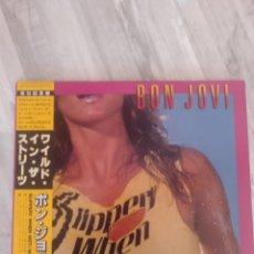 """Discos de vinilo: BON JOVI """" SLIPPERY WHEN WET """". EDICIÓN JAPÓN + OBI + LETRAS EN INGLÉS Y JAPONÉS. 1986.. Lote 238574410"""