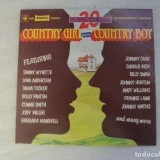 Discos de vinilo: COUNTRY GIRL MEETS COUNTRY BOY. 20 ORIGINAL HITS. LP EDICION INGLESA 1977 CBS, WARWICK. Lote 238638415