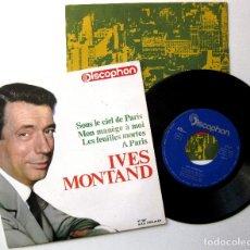 Discos de vinilo: YVES MONTAND - SOUS LE CIEL DE PARIS +3 - EP DISCOPHON 1964 BPY. Lote 238648625