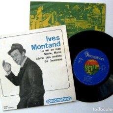 Discos de vinilo: YVES MONTAND - LA VIE EN ROSE +3 - EP DISCOPHON 1964 BPY. Lote 238654520